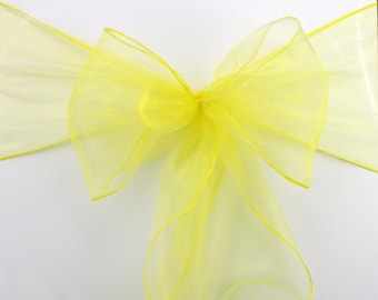 50pcs Yellow Organza Chair Sashes Sheer Chair Bow Ties Wedding Banquet Ceremony Birthday Anniversary Baby Girl Birthday Chair Decoration