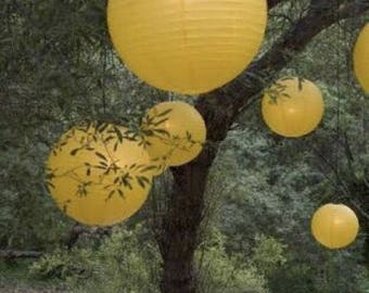 9pcs Yellow Paper Lanterns and LED Bulbs • Wedding Engagement 21st 1st Birthday Party Gender Reveal Baby Shower Easter Table Decorations