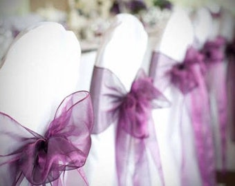 25x Purple Chair Sashes Chair Bows Chair Ties Cover for Wedding Engagement Birthday Event Party Reception Ceremony Bouquet Venue Decoration