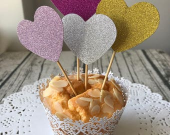12pcs glittery love heart cupcake toppers • wedding birthday party baby shower bridal shower engagement Christmas decorations