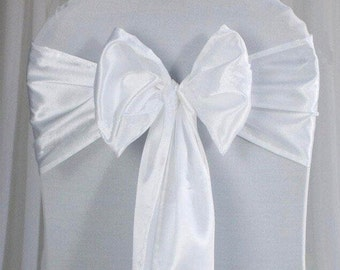 25x White Satin Chair Sashes Chair Bow Cover for Wedding Engagement Birthday Anniversary Party Reception Ceremony Bouquet Baptism Decoration
