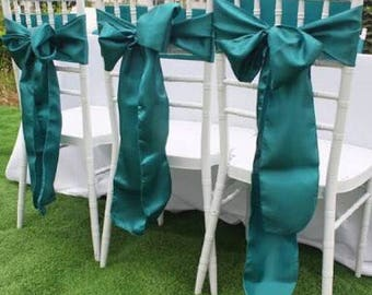 50x Teal Blue Satin Chair Sashes Ties Bows Wedding Engagement Event Reception Ceremony Function Bouquet Christening Baptism Chair Decoration