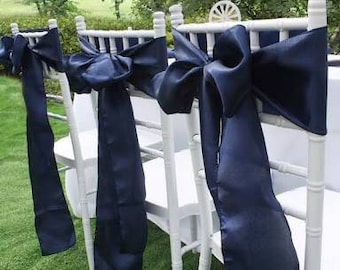 50x Navy Blue Satin Chair Sashes Chair Bows Ribbon for Chair Wedding Engagement Reception Ceremony Function Bouquet Christening Baptism Deco