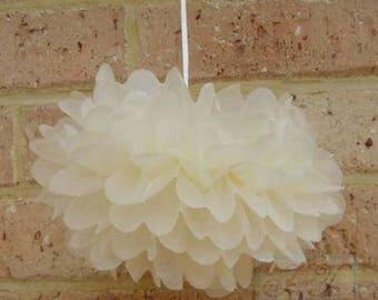 6x Cream Tissue Paper Pom Poms Birthday Party Baby Shower Wedding Bridal Shower Decorations