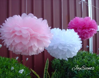 18pcs Mixed Size Pinks White Tissue Paper Pom Poms Wedding Baby Shower Party Engagement Bridal Shower Housewarming Decorations