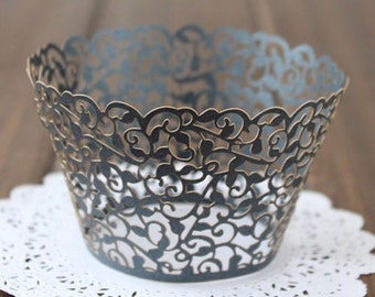 50x Black Vine Filigree Cupcake Wrapper for Wedding Party Cake Tree  Decoration | Reception Centerpiece Baking Decor