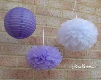 Lilac White Pom Poms & Purple Paper Lanterns for Wedding Engagement Anniversary 21st Birthday Tea Party Bridal Shower