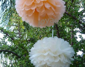 18pcs Mixed Size Peach Cream Tissue Paper Pom Poms Hanging Decoration - Wedding Baby Shower Hen Party Engagement Bridal Shower Decorations