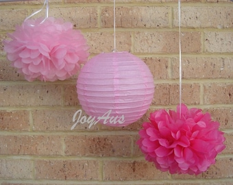 Pink Tissue Paper Pom Poms & Pink Paper Lanterns for Wedding Engagement Anniversary Birthday Party Bridal Baby Shower Venue Decoration