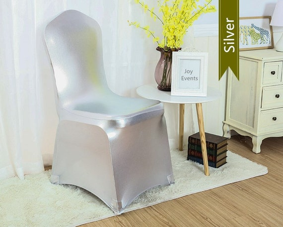 Pleasant Metallic Silver Lycra Spandex Chair Covers Wedding Banquet Ceremony Feast 21St Birthday Anniversary Engagement Party Chair Decoration Beatyapartments Chair Design Images Beatyapartmentscom