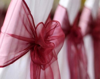 25x Burgundy Organza Chair Sashes Bow Ribbon for Chair Wedding Engagement Birthday Anniversary Party Reception Ceremony Bouquet Decoration