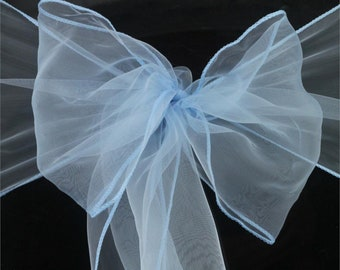 50x Light Blue Organza Chair Sashes Chair Ties Wedding Banquet Ceremony Feast 21st Birthday Anniversary Engagement Party Venue Decorations
