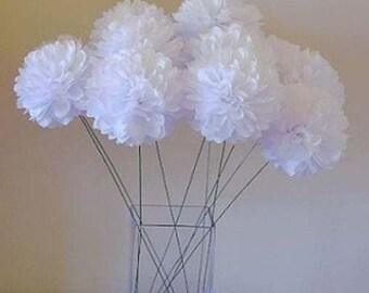 12x White mini tissue paper pom pom | Wedding Baby shower Party Engagement Bridal Shower Table Centerpiece Decoration