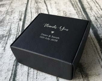 40x Black Wedding Favour Boxes • Wedding Thank You Gift Boxes Birthday Anniversary Personalized Silver Foil Gift Boxes • Business LOGO Boxes