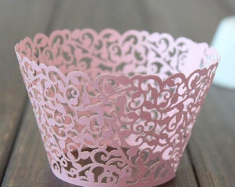 50x Pink Vine Filigree Cupcake Wrapper for Wedding Party Cake Tree  Decoration | Reception Centerpiece Bakery Christmas Decor