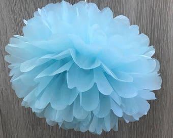 6x Baby Blue Tissue Paper Pom Poms Baby Boy Baby Shower 1st Birthday Party Wedding Decorations