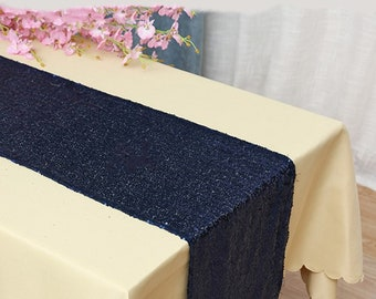 Pack of 5 Navy Blue Glitter Sequin Table Runners Engagement Wedding Banquet Ceremony Birthday Anniversary Party Dining Table Decoration