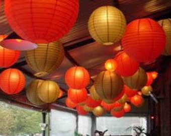 9x Red & Gold Paper Lanterns with LED Bulbs Gold Anniversary Decorations Wedding Decorations Birthday Party Decorations Lighting Decorations