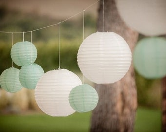 12pcs Mixes Size Mint White Paper Lanterns with LED Bulbs for Wedding Decorations Engagement 21st Birthday Party Baby Shower Decorations