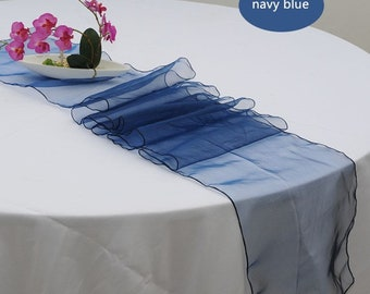 10x Navy Blue Organza Table Runners Wedding Banquet Ceremony Feast Birthday Anniversary Sheer Chair Sashes Party Dining Table Decorations