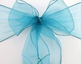 25x Teal Blue Chair Sashes Chair Bow Chair Ties Ribbon for Wedding Engagement Anniversary Birthday Event Party Reception Ceremony Bouquet