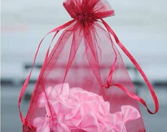 Burgundy Red Organza Pouch Bags with Drawstring - Wedding Party Favour Bag - Baby Shower Christmas Gift Bag - Fragrance Sachet
