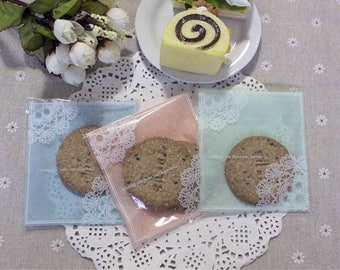 100x Lace Plastic Self-sealed Bag | Party Gift Treat Bag | Wedding Favours Cookie Lolly Chocolate Candy Bakery Pastry Christmas 10x11cm