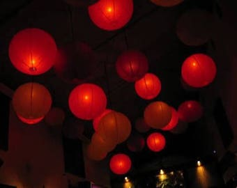 9x Red Paper Lanterns with LED Bulbs for Wedding Anniversary Birthday Party Valentine's Day Chinese New Year Decorations