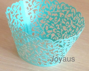 50x Dark Mint Vine Filigree Cupcake Wrapper for Wedding Party Cake Tree  Decoration | Reception Centerpiece Bakery Christmas Decor