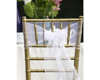 25x White Organza Chair Sashes Chair Bow Cover Ties Wedding Engagement Birthday Anniversary Party Reception Ceremony Bouquet Decoration