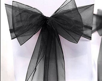 25x Black Chair Sashes Bow Cover Sheer Wedding Engagement Birthday Anniversary Event Party Reception Ceremony Venue Bouquet Chair decoration