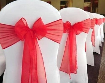 50x Red Organza Chair Sashes Wedding Banquet Ceremony Feast Sheer Chair Bows Ties 21st Birthday Anniversary Engagement Venue Decoration