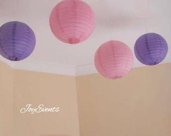 9x Pink & Purple Paper Lanterns with LED Bulbs for Wedding Engagement Anniversary Birthday Fairy Party Baby Shower Hanging Decoration