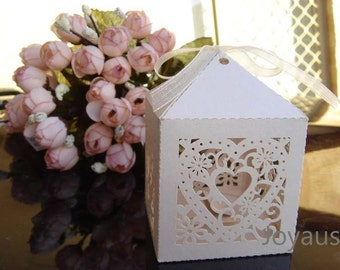 50x Ivory Love-heart Bomboniere Favour Boxes  Laser Cut Favor Boxes - Wedding & Party Gift Boxes - Chocolate Candy Cookie Macaron Cake BoxES