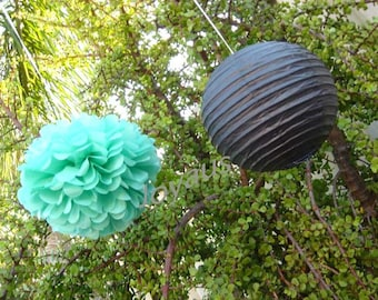 Mint Hanging Pom Poms & Black Paper Lanterns for Wedding Engagement Anniversary Birthday Party Bridal Baby Shower Venue Hanging Decoration