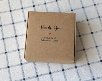 40x Natural Kraft Paper Favour Boxes • Wedding Party Baptism Easter Thank You Gift Boxes • Custom Personalised Name Date • Product Packing