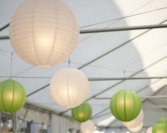 9x White & Green Paper Lanterns with LED Bulbs for Wedding Engagement Anniversary Birthday Party Hanging Lighting Decoration