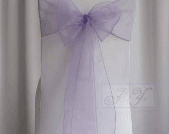 25x Lilac / Lavender Chair Sashes Bow Cover Ties Wedding Engagement Anniversary Birthday Party Reception Ceremony Bouquet Chair Decoration