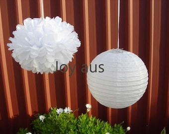White Paper Pom Poms & white paper Lanterns for Wedding Engagement Anniversary Birthday Party Bridal Baby Shower venue hanging Decoration