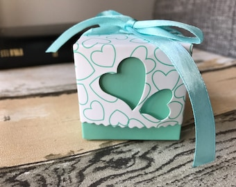 50x mint & white candy chocolate favour boxes baby shower wedding birthday Christmas gift box 5cm/2inch cube