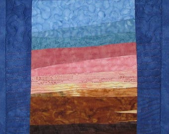 Landscape Art Quilt Sunset 52 small, Wall Hanging, Wall Quilt