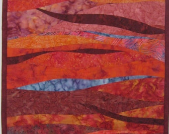 Art Quilt Rose Colored Curves, Wall Quilt, Quilted Wall Hanging, Abstract quilt