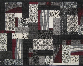 Art Quilt Black White Blocks, Wall Quilt, Quilted Wall Hanging, Abstract quilt