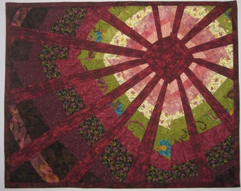 Art Quilt Sun Wonky Maroon, Quilted Wall Hanging, Abstract Quilt Art
