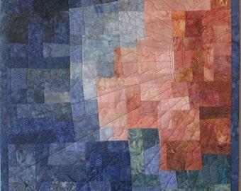 Art Quilt Mosaic Peach Blue Sun, Quilted Wall Hanging, Abstract, Modern quilt