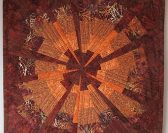 Art Quilt Star Wonky Brown Orange, Wall Quilt, Quilted Wall Hanging