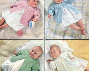 Baby Matinee Coats 18in 3ply Patons 9697 Vintage Knitting Pattern PDF instant download