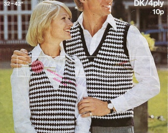 Unisex Chequered Slipover 4-ply DK 32-42in Sirdar 5639 Vintage Knitting Pattern PDF instant download