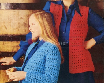 Lady & Girl's Waistcoats Chunky 28-38in Wendy 1310 Vintage Knitting Pattern PDF instant download
