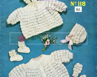 Baby Set Hooded Coatee, Matinee Coat, Bonnet, Mittens and Bootees 3-6 months 3ply Sirdar 118 Vintage Knitting Pattern PDF instant download